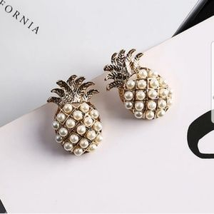 Faux Pearl Pineapple Stud Earrings